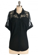 Black lace shirt from Modcloth at Modcloth