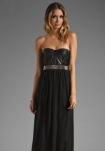 Black leather bustier dress by Alice and Olivia at Revolve