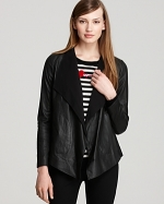 Black leather draped jacket by DKNY at Bloomingdales