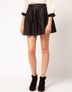 Black leather look skirt at Asos
