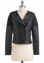Black leather panel jacket at ModCloth at Modcloth