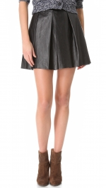 Black leather pleated skirt at Shopbop