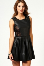 Black leather style dress from Boohoo at Boohoo