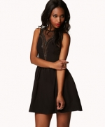 Black mesh panel dress with bead detail at Forever 21 at Forever 21