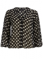 Black polka dot blouse at Dorothy Perkins at Dorothy Perkins