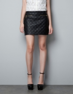 Black quilted mini skirt from Zara at Zara