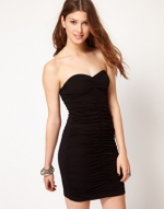 Black ruched mini dress like Pennys at Asos