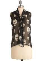 Black skull print blouse at Modcloth
