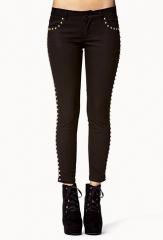 Black stud trim jeans at Forever 21