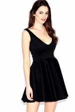 Black vneck dress at Boohoo at Boohoo