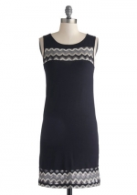 Black zig zag detail dress at Modcloth
