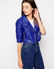 Blank NYC Cropped Leather Jacket at Asos