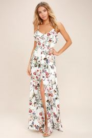Bloom on Ivory Floral print Maxi Dress by Lulus at Lulus