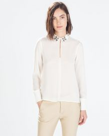 Blouse with Jewel Applique at Zara