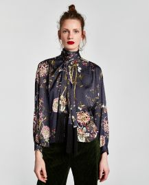 Blouse with fringe and bow at Zara