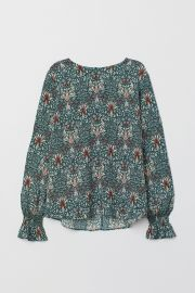 Blouse with smocking  at H&M