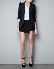 Blue Blazer with Shoulder Detailing at Zara