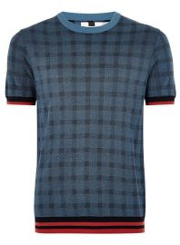 Blue Check Tipping Sweater at Topman