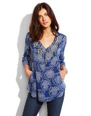 Blue Embellished Tunic at Lucky Brand