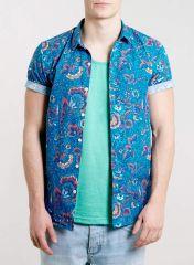 Blue Floral Short Sleeve shirt at Topman