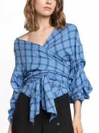 Blue Plaid V-neck Puff Sleeve Wrap Blouse at Choies