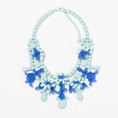Blue Rhinestone Necklace at Zara