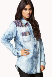 Blue Southwest Bound Chambray Shirt by Forever 21 at Forever 21