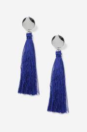 Blue Stud Tassel Drop Earrings at Topshop