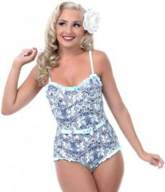 Blue and grey floral belted swimsuit at Unique Vintage