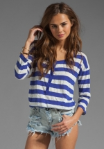 Blue and white striped henley top by Splendid at Revolve