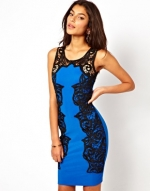 Blue bodycon dress with lace sides at Asos