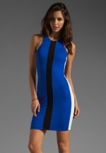 Blue colorblock dress by Michelle Mason at Revolve