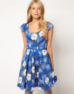 Blue floral dress at Asos