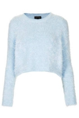 Blue fluffy crop sweater at Topshop