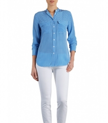 Blue geo print lynn blouse at Equipment