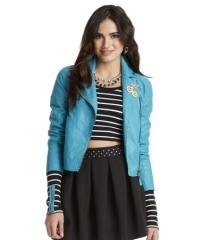 Blue leather jacket at Aeropostale