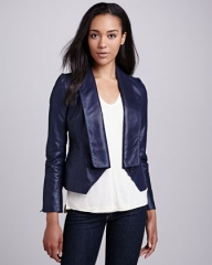 Blue leather jacket by Cusp by Neiman Marcus at Neiman Marcus