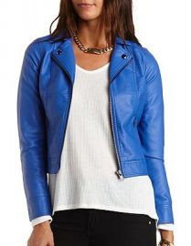 Blue leather moto jacket at Charlotte Russe