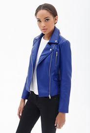 Blue moto jacket at Forever 21
