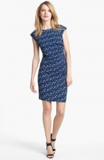 Blue printed side ruched dress at Nordstrom