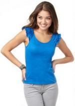 Blue ruffle sleeve top at Delias at Delias
