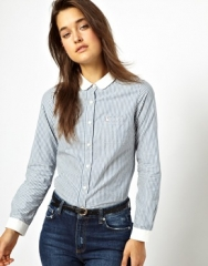 Blue shirt with white collar at Asos