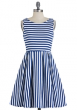Blue striped dress from Modcloth at Modcloth