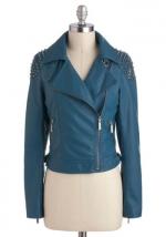Blue studded moto jacket at Modcloth