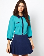 Blue tipped blouse by Yumi at Asos