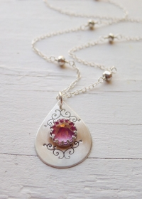 Blush Topaz Ornate Spike Necklace at Etsy