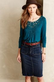 Bobbinlace Tee in Turquoise at Anthropologie