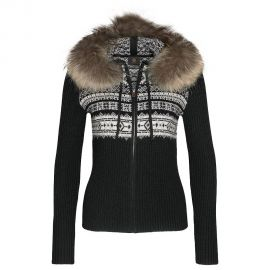Bogner Fire Ice Naomi Full Zip Knit Sweater With Real Fur Womens at Amazon