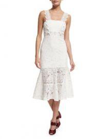 Bojana Sleeveless Lace Midi Dress  White at Neiman Marcus