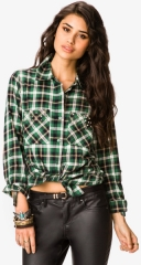 Bolt Studded Plaid Shirt at Forever 21